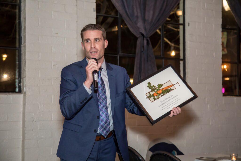 Senator Mike McGuire accepting a 2017 Food & Farm Champion award.