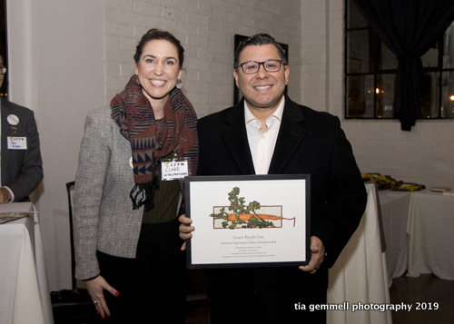 Clare Fox presented the Food and Farm Champion award to Eduardo Garcia in Senator Ricardo Lara's absence.